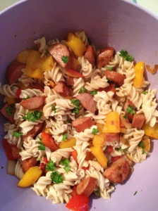 sausage pepper onion pasta salad
